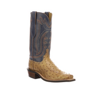 HECTOR Lucchese Mens Full Quill Ostrich Western Boots CZ3003 TAN + NAVY Q TOE,3 HEEL