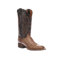 LIMITED RELEASE Lucchese Mens Crocodile Western Boots KD6015 TAN + CHOCOLATE W TOE,F HEEL