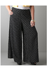 PLUS SIZE. Wide Leg Palazzo / Gaucho Pants make a serious fashion statement! Black with White Polka Dots. Amazing Brand for this Price!