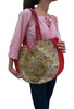 BOHO CHIC! Nepali Oval Bag with Lace & Beads! Red.