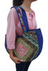 BOHO CHIC! Nepali Oval Bag with Lace & Beads! Navy / Cobalt Blue.