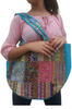 BOHO CHIC! Nepali Oval Bag with Turquoise & Gold Accents!.