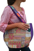 BOHO CHIC! Nepali Oval Bag with Purple & Gold Accents!.