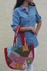 BOHO CHIC! Nepali Oval Bag with Quilted Pattern! Red.