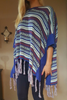 BOUTIQUE TASSEL SWEATER CAN BE WORN AS A PONCHO OR CARDIGAN! BLUE TRIBAL.