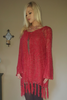 BOHO-CHIC CROCHET PONCHO CARDIGAN WITH TASSELS!  CRIMSON. ONE SIZE (Up to Size 18).