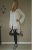 BOHO-CHIC PONCHO CARDIGAN IN CROCHET WITH TASSELS!  IVORY. ONE SIZE (Up to Size 18).