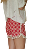 100% Rayon Challis Shorts with Pom Poms! Red Paisley. From MAZE!