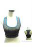 Get Active! Sports Bra/Workout Top with Racer Back! Charcoal with Blue.