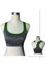 Get Active! Sports Bra/Workout Top with Racer Back! Charcoal with Green.