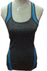 Active Racer Back Tank / Yoga Top! Charcoal with Blue.