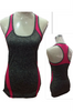 Active Racer Back Tank / Yoga Top! Charcoal with Fuchsia.