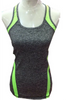 Active Racer Back Tank / Yoga Top! Charcoal with Neon Green.