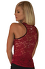 Deep Red Glitter Tank Top with Lace!
