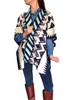 Boutique Sweater can be Worn as a Poncho or Cardigan! Cream, Navy, and Mint Aztec Pattern.