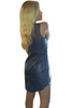 Navy Blue Bodycon Dress. Vegan Leather with Sheer Fishnet Panels!