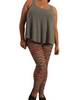 PLUS SIZE Leggings with Orange Multi-Color Striated Pattern.