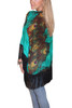 ONE SIZE BOHO COVERUP CARDIGAN WITH TASSELS & GREEN PEACOCK PRINT! ONE SIZE (Up to Size 18).