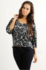 Silky Cool  Top with Boho-Chic Sleeves! Grey Leopard Print.