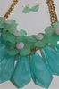 Chunky Flower Statement Necklace in Ice Blue and Mint!