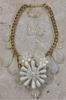 CHUNKY FLORAL STATEMENT NECKLACE & EARRINGS SET! CREAM WHITE.