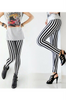 Vertical Striped Jeggings / Stretch Pants. Black & White.