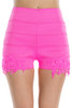 Pink Stretch Crochet Hi-Waisted Shorts!