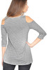 Striped Grey Crop Top from CLEO with Cutout Shoulders!