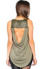 Olive Sleeveless Top with Faux Leather and Studs!