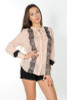 100% Rayon Blouse with Lace Accents and Embellished Cuffs! Peach/Taupe.