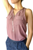 Major Brand Sleeveless Blouse with Zipper Chest Pockets! Blush/Plum.
