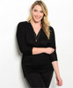 PLUS SIZE Black Rayon Top with Cinched 3/4 Sleeves.
