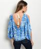 Blue Snake Print Cold Shoulder Top with Open Back and Boho Tassels!