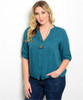 PLUS SIZE Teal Buttondown Top with Adjustable Long Sleeves!