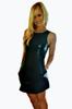 Black Vegan Leather Bodycon Dress with Fishnet Panels! Size: Medium.