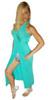 Maxi Dress with Slit Side and Zebra Print Lining! Mint.