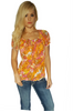 Orange Floral Peasant Top | FRENCH LAUNDRY | Petite Sizes
