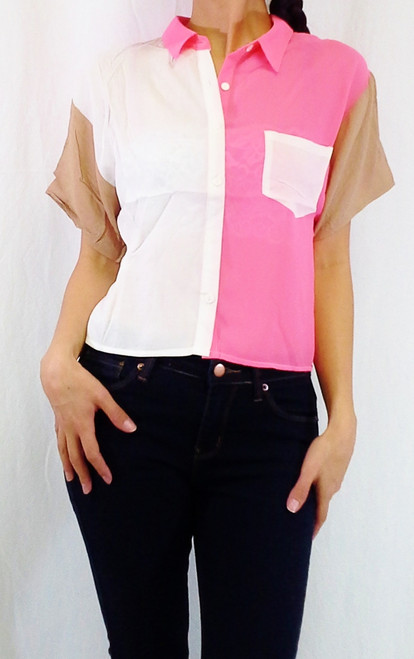 Colorblock Buttondown is 100% Rayon. Ivory/Coral/Tan.