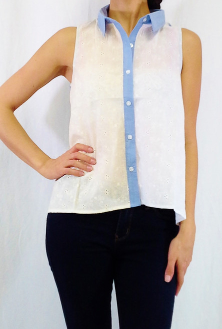 100% Cotton Colorblock Buttondown with Cutout V in Back! Ivory & Denim Blue.