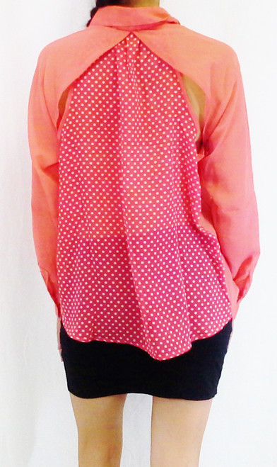 Long Sleeve Buttondown with Polka Dots & Cutouts in Back! Coral.