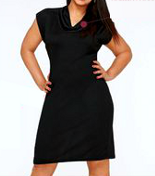 BLACK DRESS has Subtle Cowl Neck, Ultra-Soft Rayon. Button Shoulder.