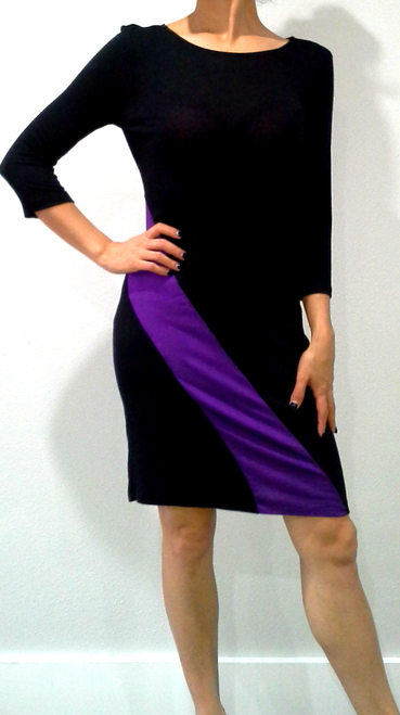 Rayon Black Dress with Purple Colorblock Geo Stripe!