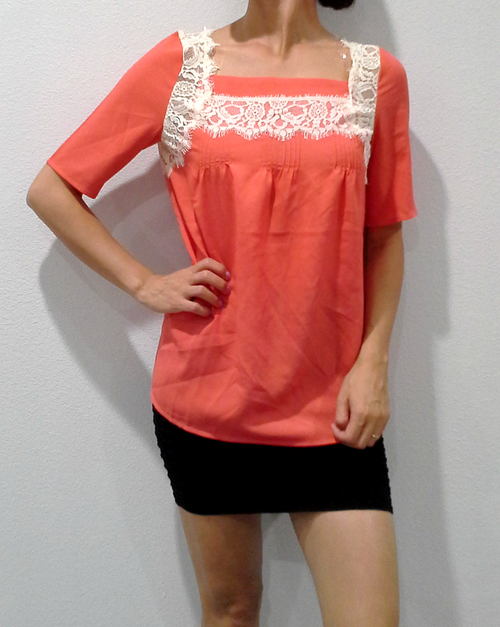 Boho Chic Tunic Top with Lace Embellishment!  Coral.