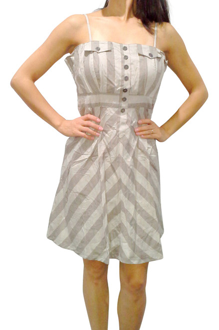 100% Cotton! Striped Dress with Spaghetti Straps & Ornate Buttons! Khaki.