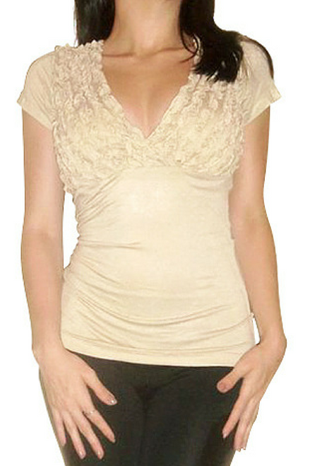 98% Cotton. Major Name Brand Top with Ruffled Chest!  Beige/Nude.