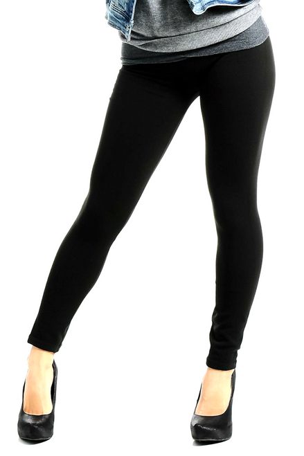 Solid Black Leggings are Thick, Body-Shaping Material!