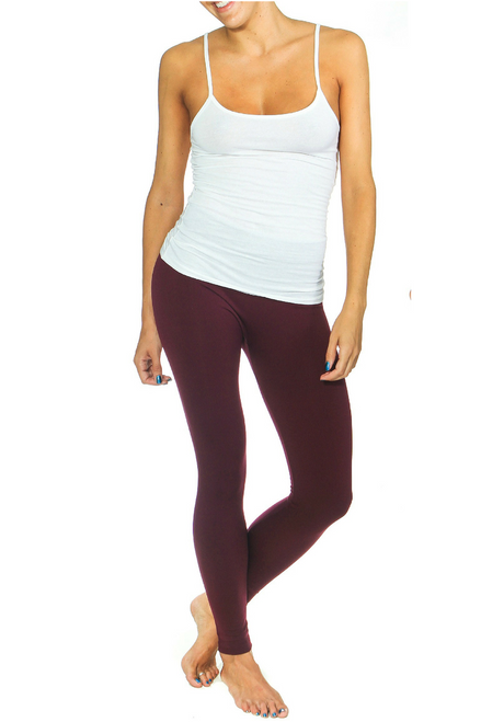 Solid Burgundy Body-Shaping Leggings!