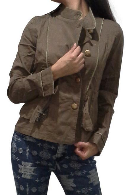 Boutique Jacket is 100% Cotton with Plaid & Floral Back! Olive Mocha.