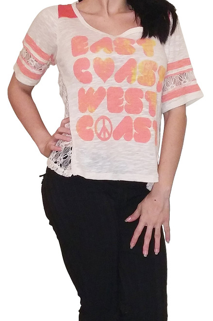 92% Cotton, Lace Top with East Coast / West Coast Print! Oatmeal with Coral Orange.