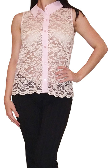 Button Down Top with Lace Front! Pink.